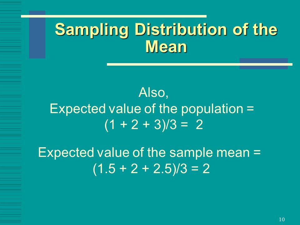 10 Also, Expected value of the population = ( )/3 = 2 Expected value of the sample mean = ( )/3 = 2 Sampling Distribution of the Mean