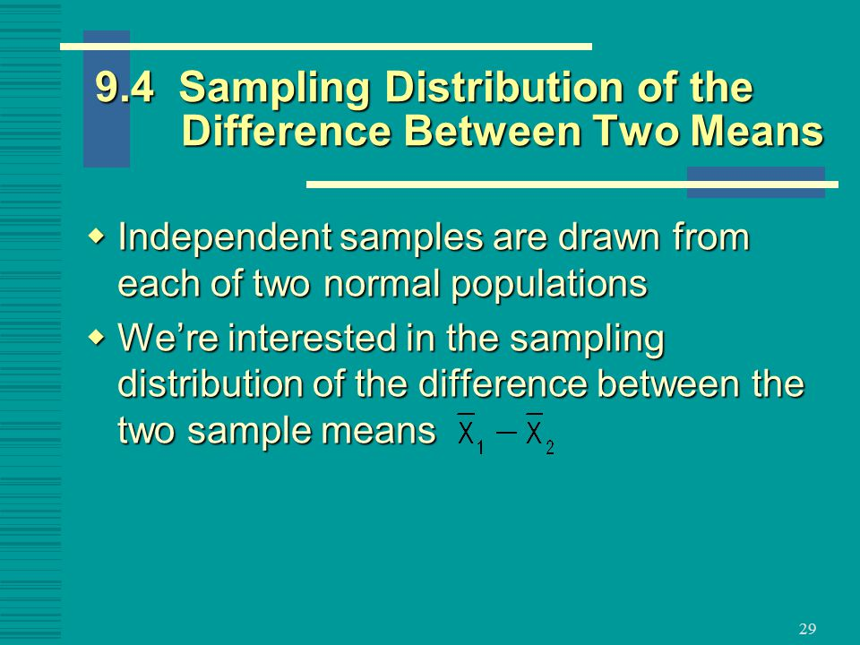Sampling Distribution of the Difference Between Two Means  Independent samples are drawn from each of two normal populations  We're interested in the sampling distribution of the difference between the two sample means