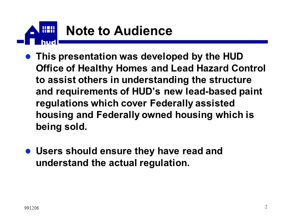 New HUD Lead-Based Paint Regulations Prepared by Office of