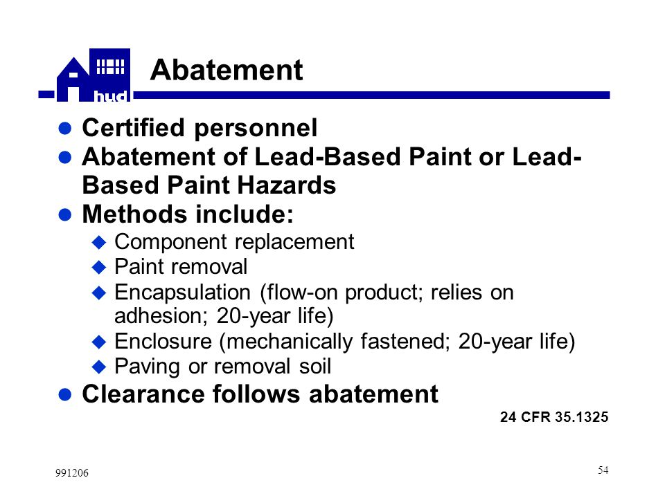 New Hud Lead Based Paint Regulations Prepared By Office Of Lead