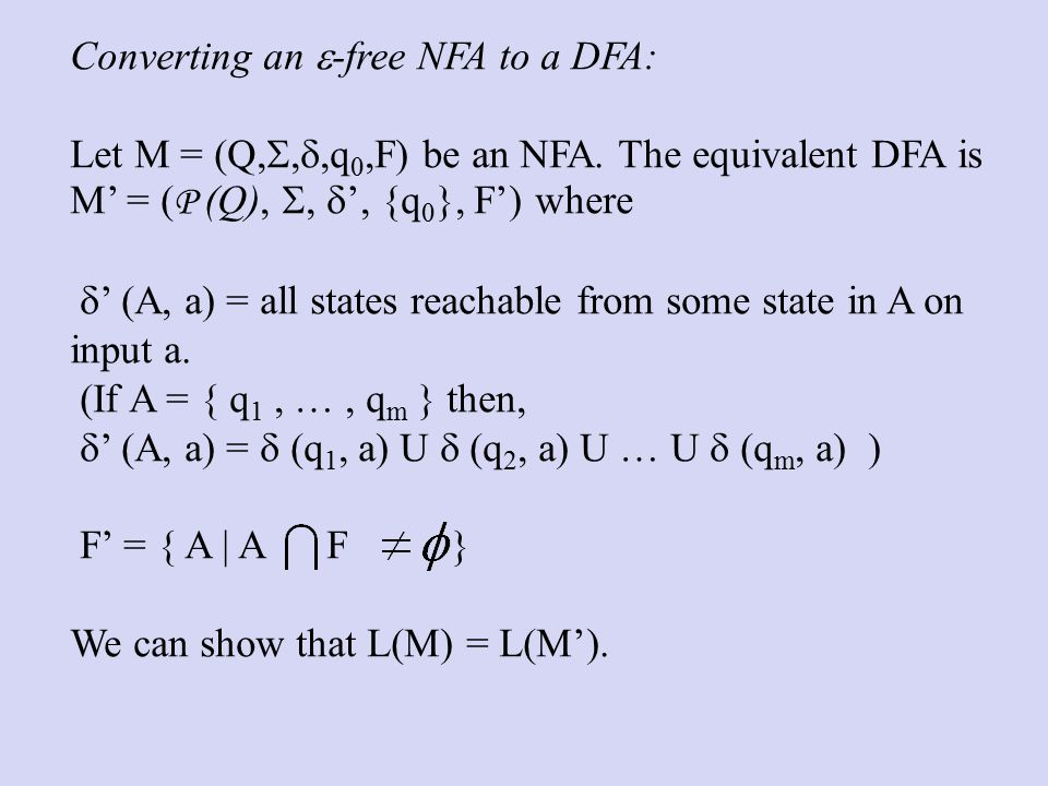 Converting an  -free NFA to a DFA: Let M = (Q, , ,q 0,F) be an NFA.