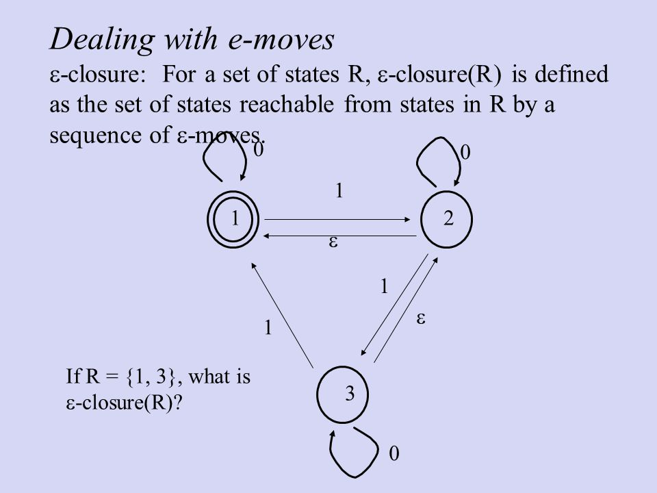 Dealing with e-moves  -closure: For a set of states R,  -closure(R) is defined as the set of states reachable from states in R by a sequence of  -moves.