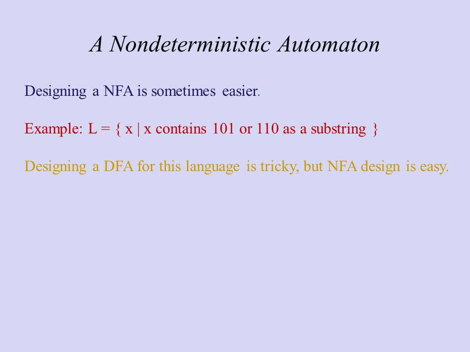 A Nondeterministic Automaton Designing a NFA is sometimes easier.