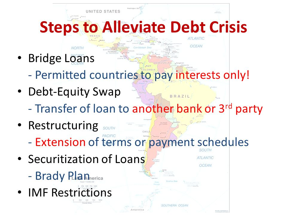 Steps to Alleviate Debt Crisis Bridge Loans - Permitted countries to pay interests only.