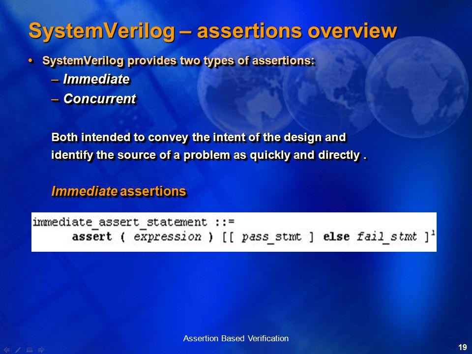 1 Assertion Based Verification 2 The Design and Verification Gap