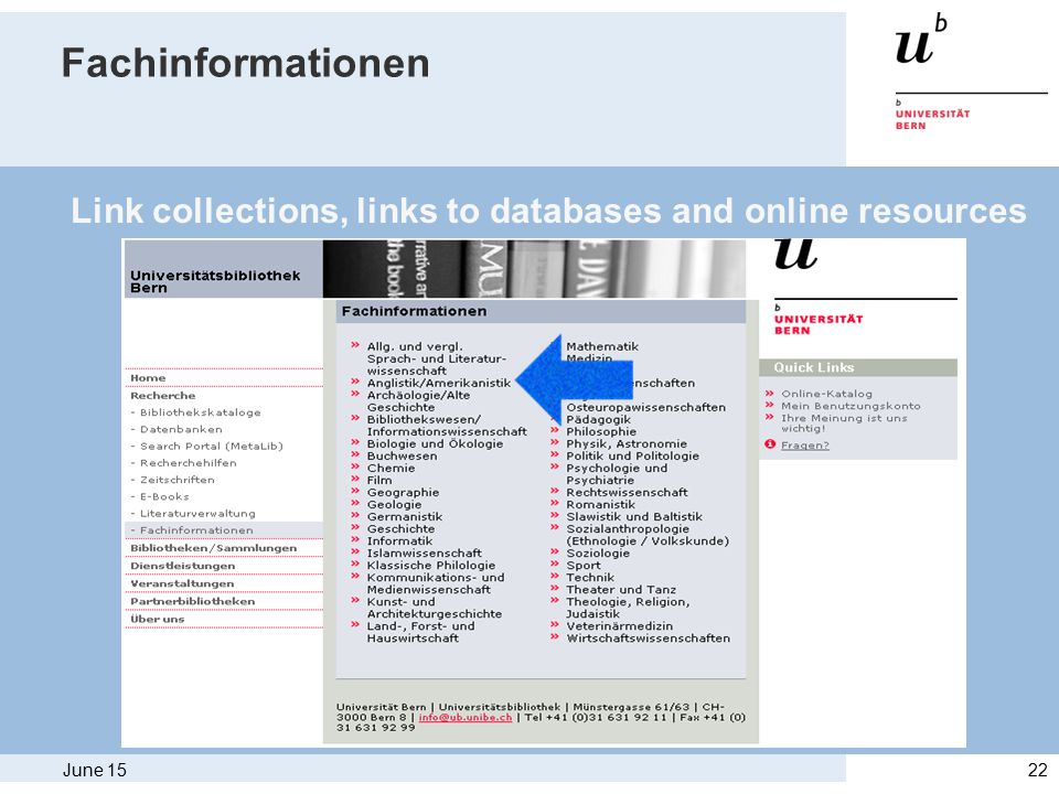 June 1522 Fachinformationen Link collections, links to databases and online resources