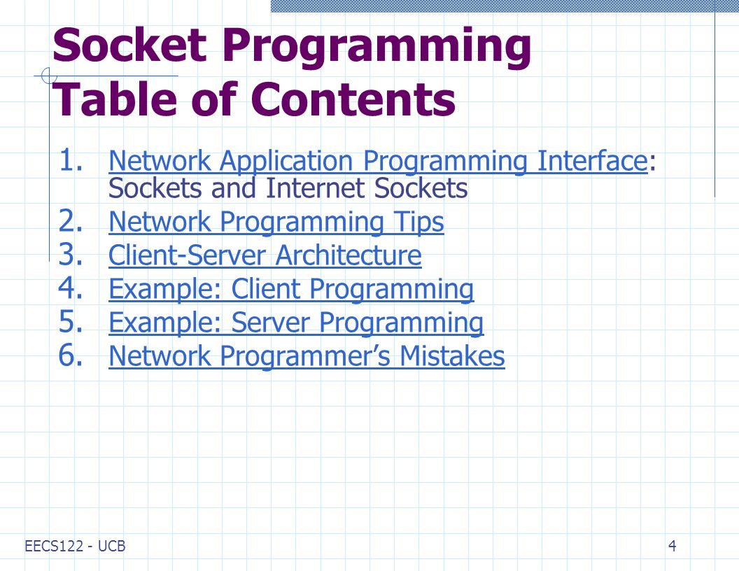 EECS122 - UCB4 Socket Programming Table of Contents 1.