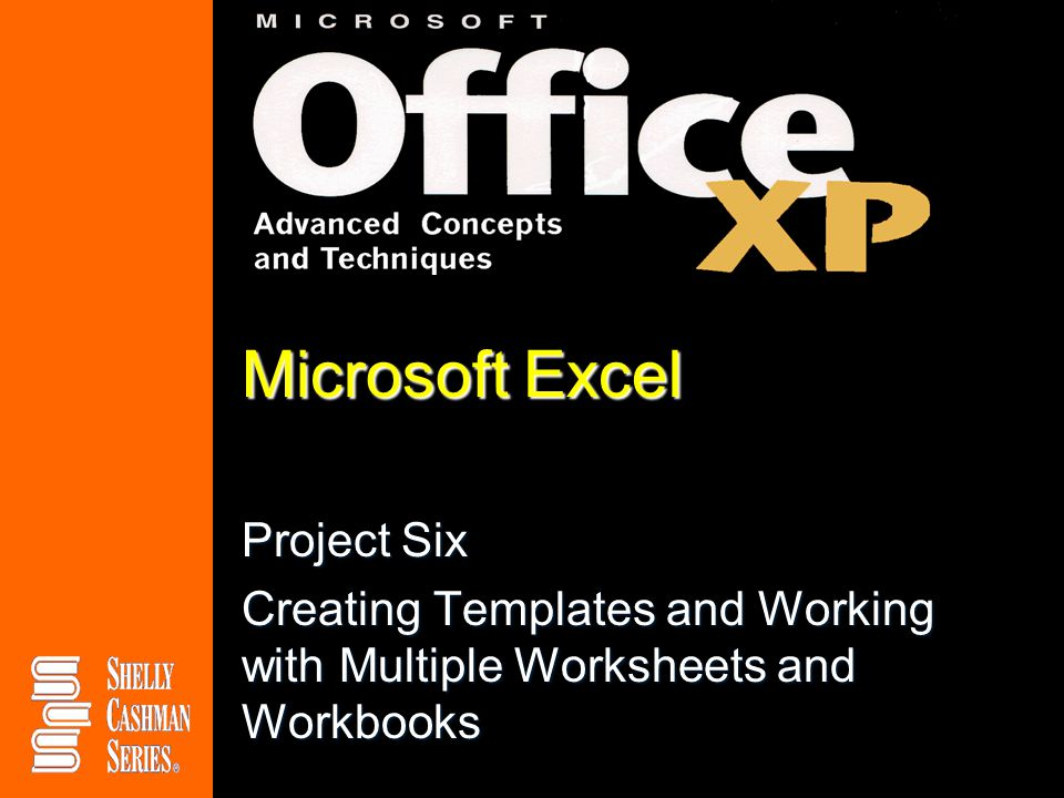 Microsoft Excel Project Six Creating Templates and Working with Multiple Worksheets and Workbooks
