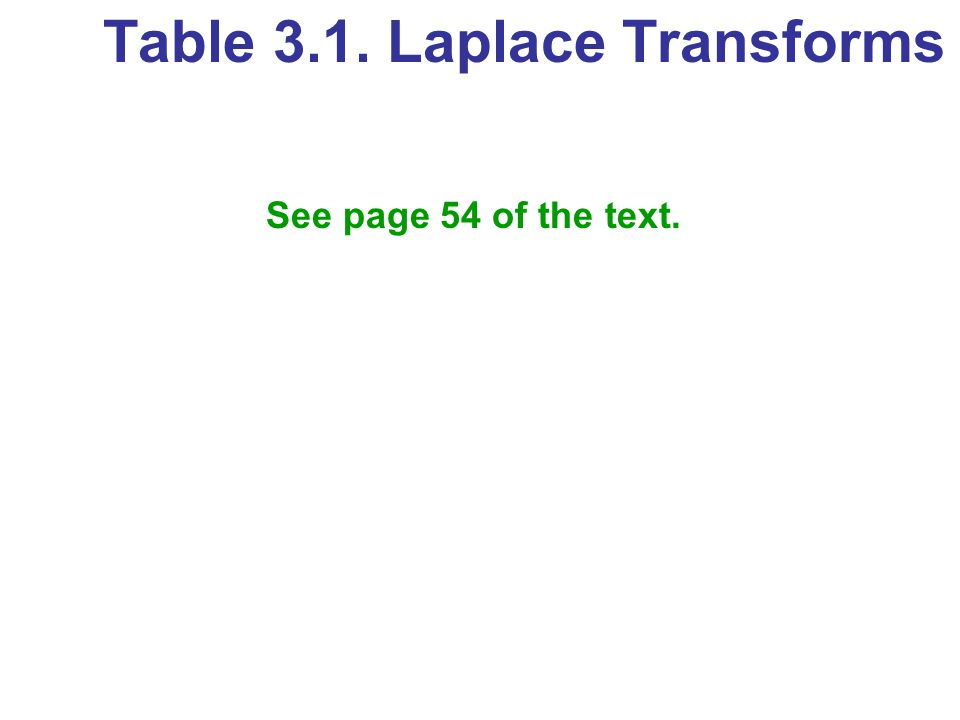 Table 3.1. Laplace Transforms See page 54 of the text.