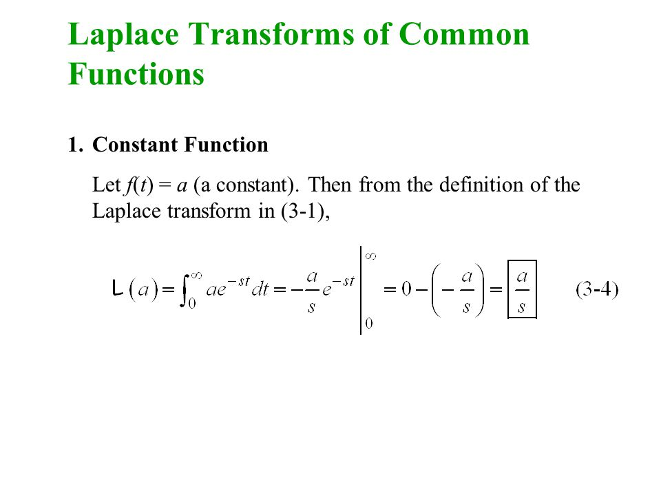 Laplace Transforms of Common Functions 1.Constant Function Let f(t) = a (a constant).