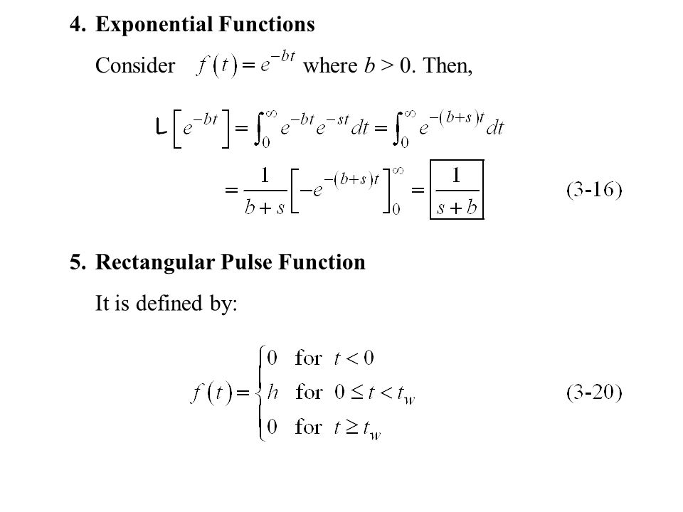 4.Exponential Functions Consider where b > 0. Then, 5.Rectangular Pulse Function It is defined by: