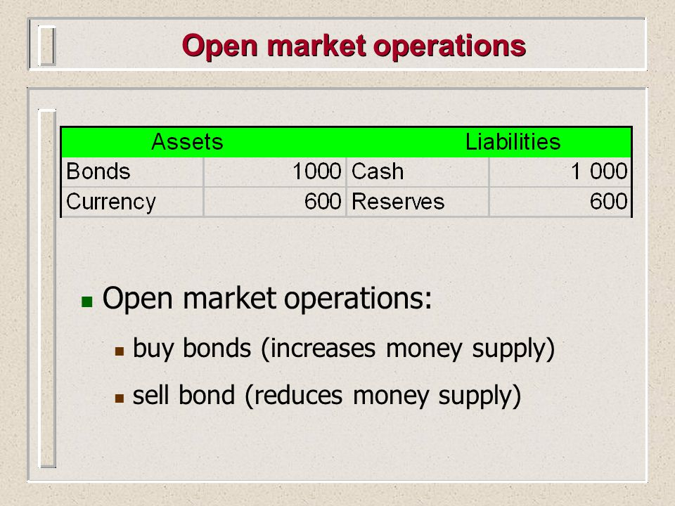 Open market operations Open market operations: buy bonds (increases money supply) sell bond (reduces money supply)
