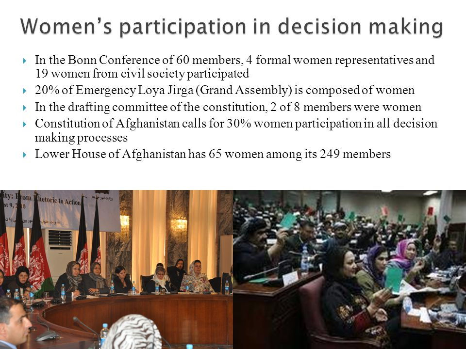  In the Bonn Conference of 60 members, 4 formal women representatives and 19 women from civil society participated  20% of Emergency Loya Jirga (Grand Assembly) is composed of women  In the drafting committee of the constitution, 2 of 8 members were women  Constitution of Afghanistan calls for 30% women participation in all decision making processes  Lower House of Afghanistan has 65 women among its 249 members