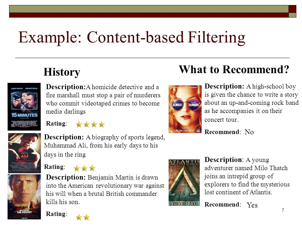 7 Example: Content-based Filtering Description: A homicide detective and a fire marshall must stop a pair of murderers who commit videotaped crimes to become media darlings Rating: Description: Benjamin Martin is drawn into the American revolutionary war against his will when a brutal British commander kills his son.