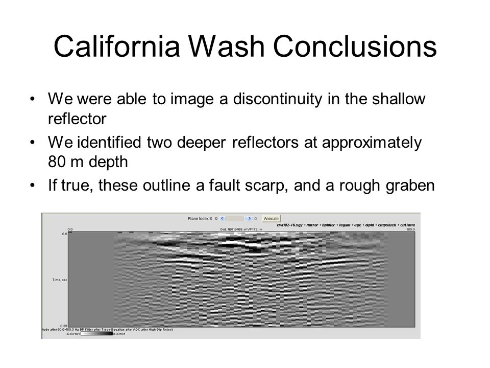 California Wash Conclusions We were able to image a discontinuity in the shallow reflector We identified two deeper reflectors at approximately 80 m depth If true, these outline a fault scarp, and a rough graben