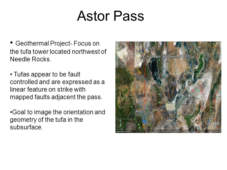 Astor Pass Geothermal Project- Focus on the tufa tower located northwest of Needle Rocks.