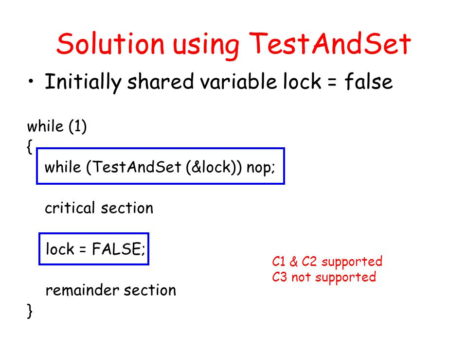 Solution using TestAndSet Initially shared variable lock = false while (1) { while (TestAndSet (&lock)) nop; critical section lock = FALSE; remainder section } C1 & C2 supported C3 not supported