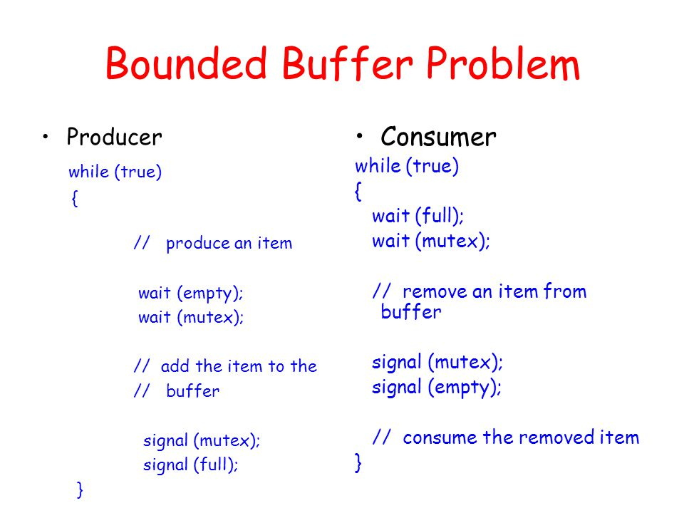 Bounded Buffer Problem Producer while (true) { // produce an item wait (empty); wait (mutex); // add the item to the // buffer signal (mutex); signal (full); } Consumer while (true) { wait (full); wait (mutex); // remove an item from buffer signal (mutex); signal (empty); // consume the removed item }