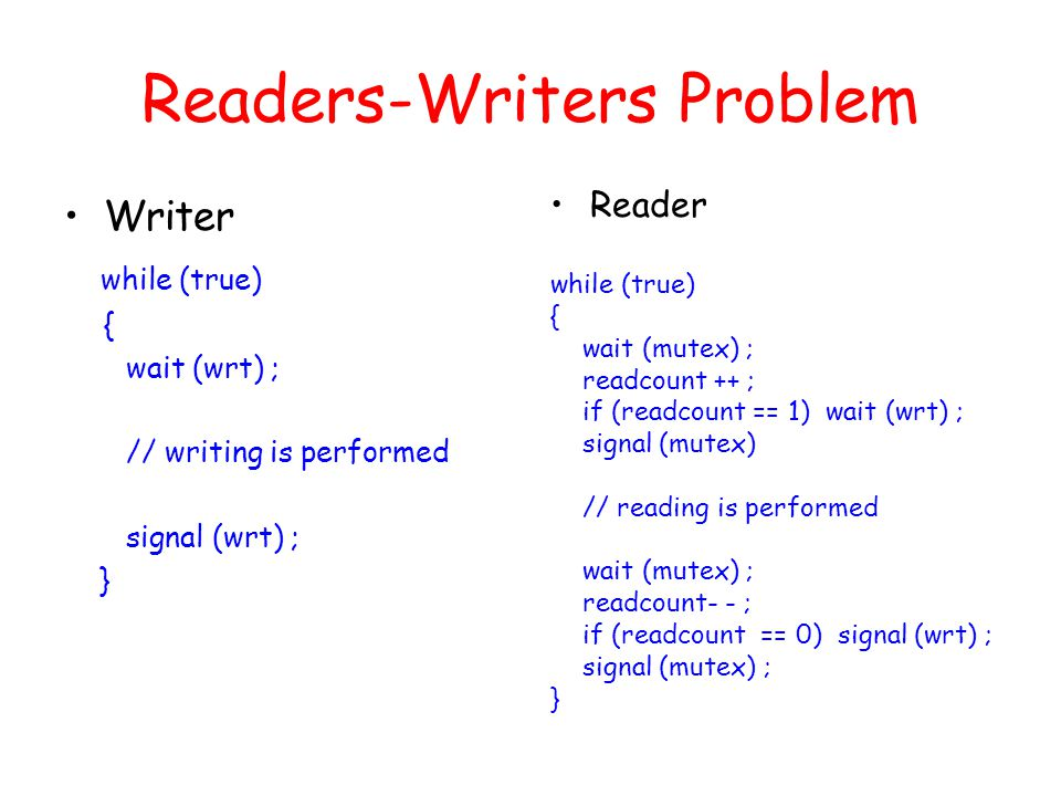 Readers-Writers Problem Writer while (true) { wait (wrt) ; // writing is performed signal (wrt) ; } Reader while (true) { wait (mutex) ; readcount ++ ; if (readcount == 1) wait (wrt) ; signal (mutex) // reading is performed wait (mutex) ; readcount- - ; if (readcount == 0) signal (wrt) ; signal (mutex) ; }