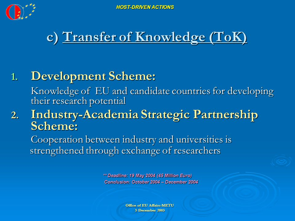 Office of EU Affairs-METU 5 December 2003 HOST-DRIVEN ACTIONS c) Transfer of Knowledge (ToK) 1.