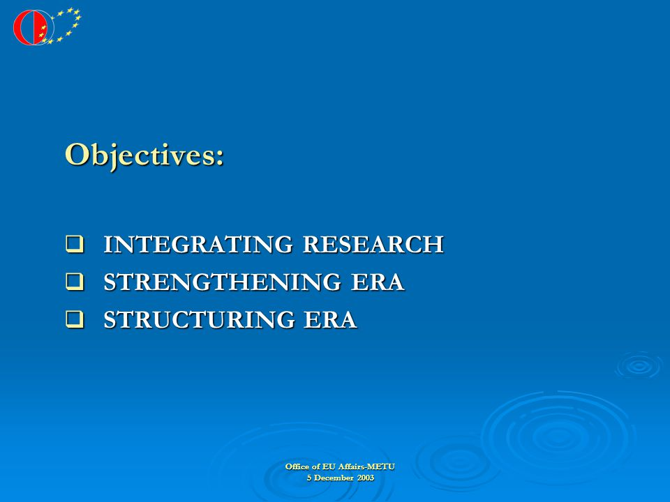 Office of EU Affairs-METU 5 December 2003 Objectives: Objectives:  INTEGRATING RESEARCH  STRENGTHENING ERA  STRUCTURING ERA