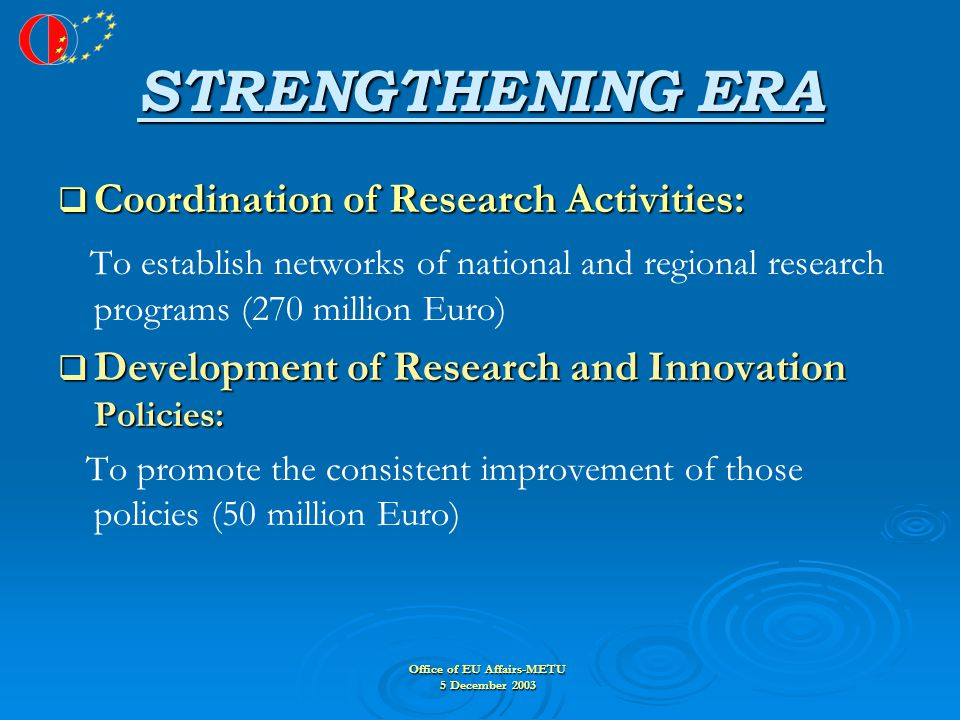Office of EU Affairs-METU 5 December 2003 STRENGTHENING ERA  Coordination of Research Activities: To establish networks of national and regional research programs (270 million Euro)  Development of Research and Innovation Policies: To promote the consistent improvement of those policies (50 million Euro)