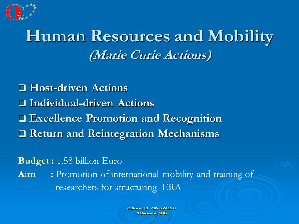 Office of EU Affairs-METU 5 December 2003 Human Resources and Mobility (Marie Curie Actions)  Host-driven Actions  Individual-driven Actions  Excellence Promotion and Recognition  Return and Reintegration Mechanisms Budget : 1.58 billion Euro Aim : Promotion of international mobility and training of researchers for structuring ERA