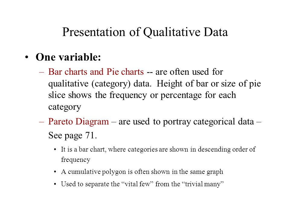Presentation of Qualitative Data One variable: –Bar charts and Pie charts -- are often used for qualitative (category) data.