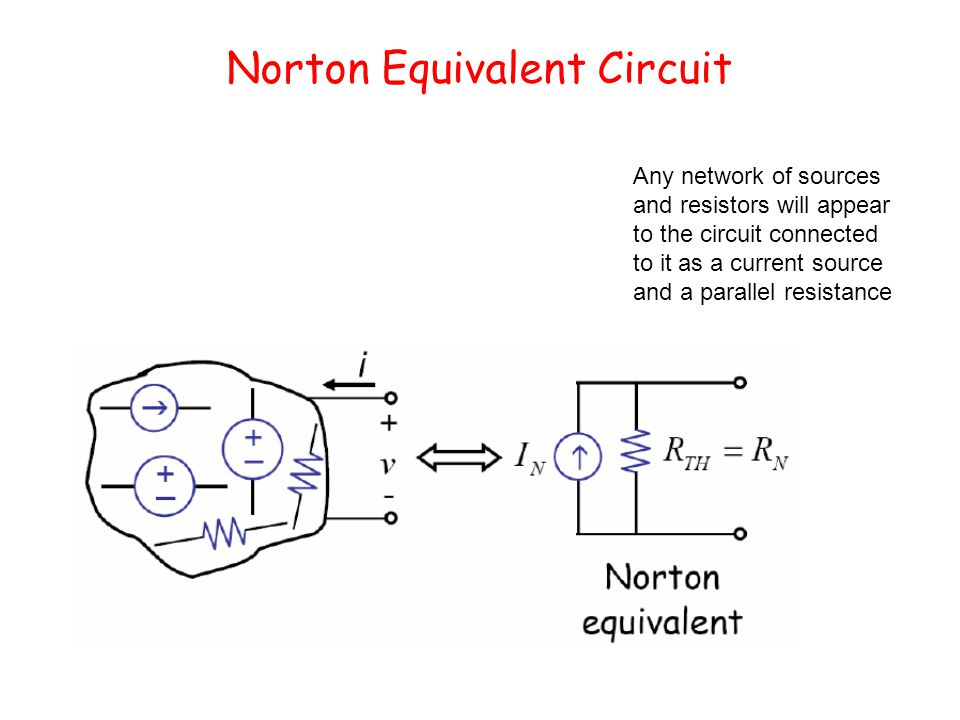 Norton Equivalent Circuit Any network of sources and resistors will appear to the circuit connected to it as a current source and a parallel resistance
