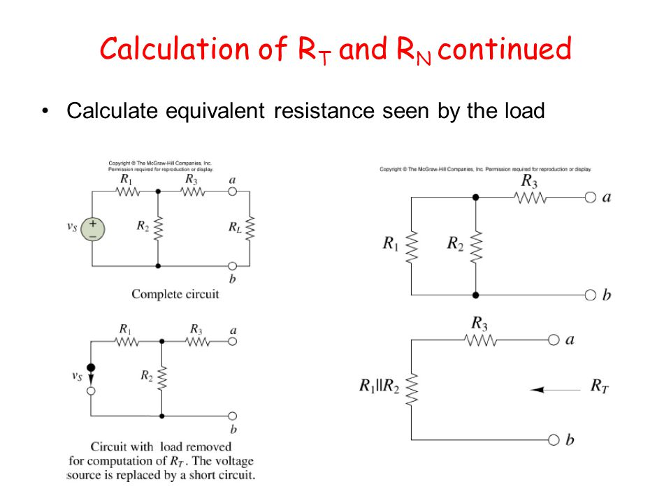 Calculation of R T and R N continued Calculate equivalent resistance seen by the load