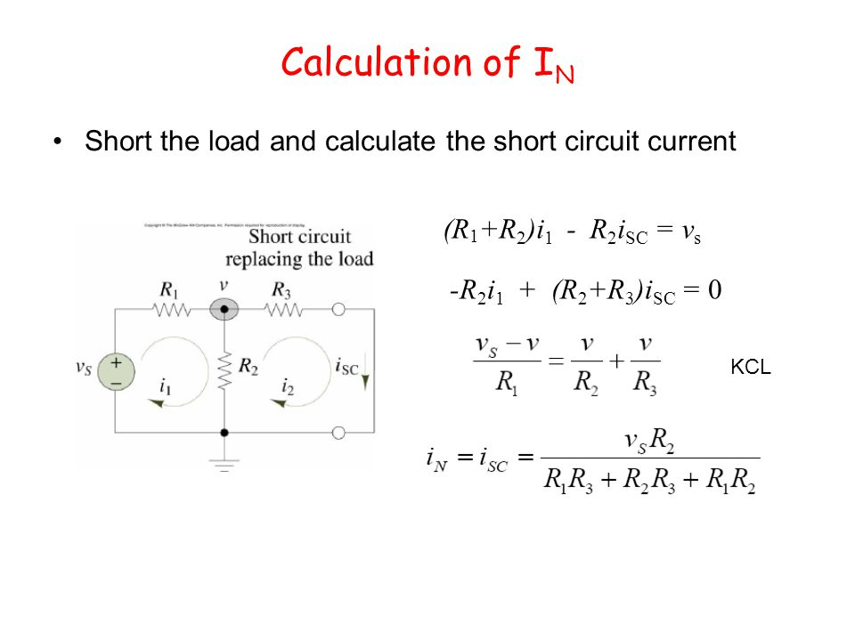 Calculation of I N Short the load and calculate the short circuit current (R 1 +R 2 )i 1 - R 2 i SC = v s -R 2 i 1 + (R 2 +R 3 )i SC = 0 KCL