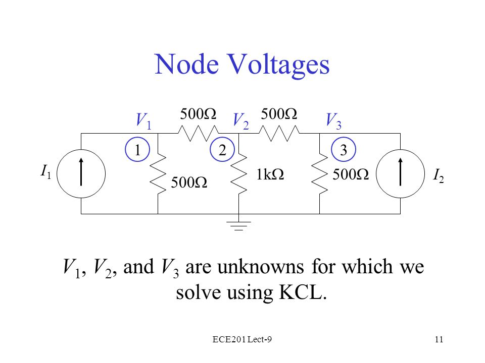 ECE201 Lect-911 Node Voltages V 1, V 2, and V 3 are unknowns for which we solve using KCL.