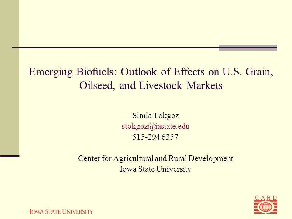 Emerging Biofuels: Outlook of Effects on U.S.