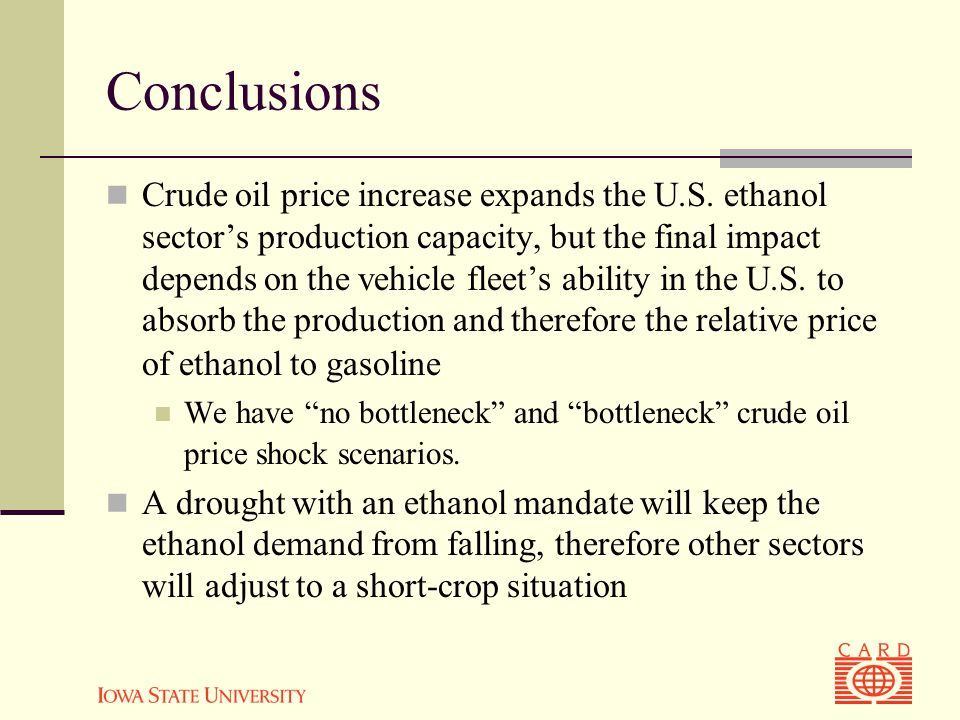 Conclusions Crude oil price increase expands the U.S.