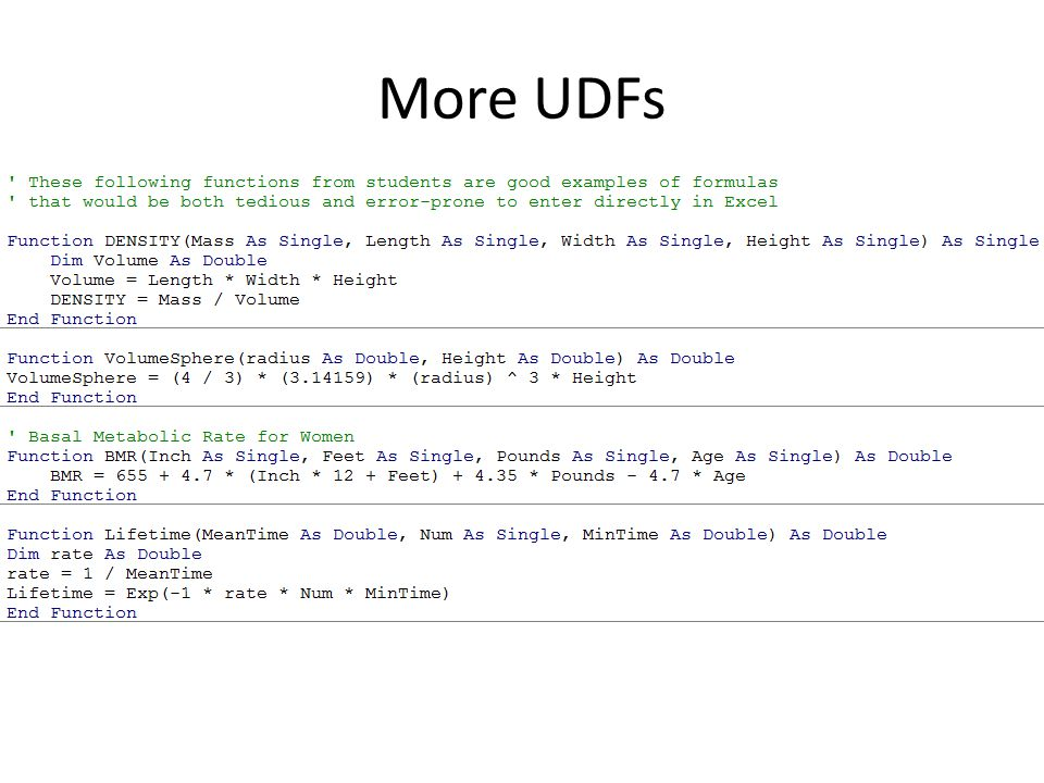 More UDFs