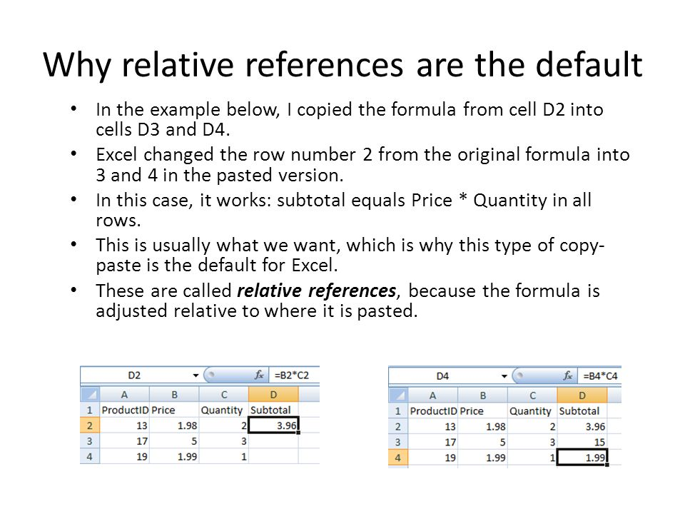 Why relative references are the default In the example below, I copied the formula from cell D2 into cells D3 and D4.