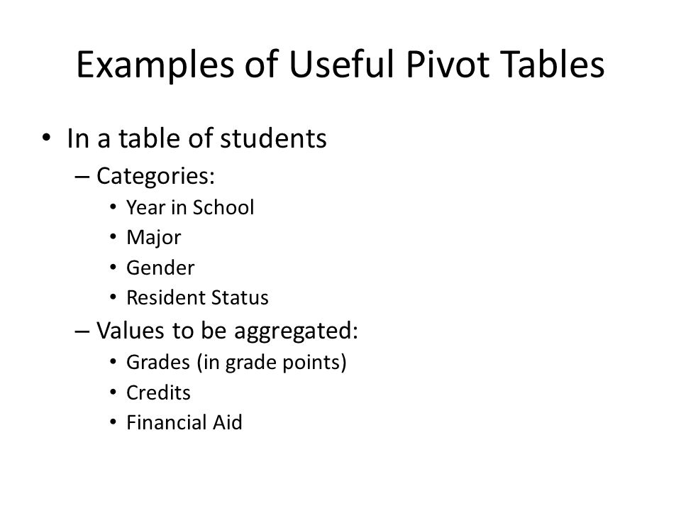 Examples of Useful Pivot Tables In a table of students – Categories: Year in School Major Gender Resident Status – Values to be aggregated: Grades (in grade points) Credits Financial Aid