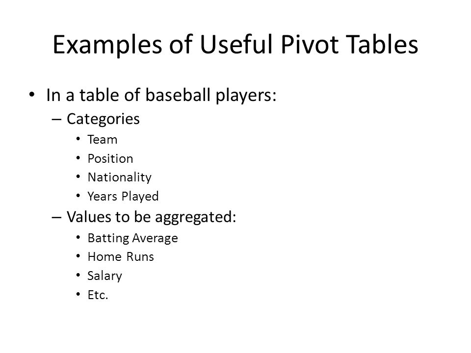 Examples of Useful Pivot Tables In a table of baseball players: – Categories Team Position Nationality Years Played – Values to be aggregated: Batting Average Home Runs Salary Etc.