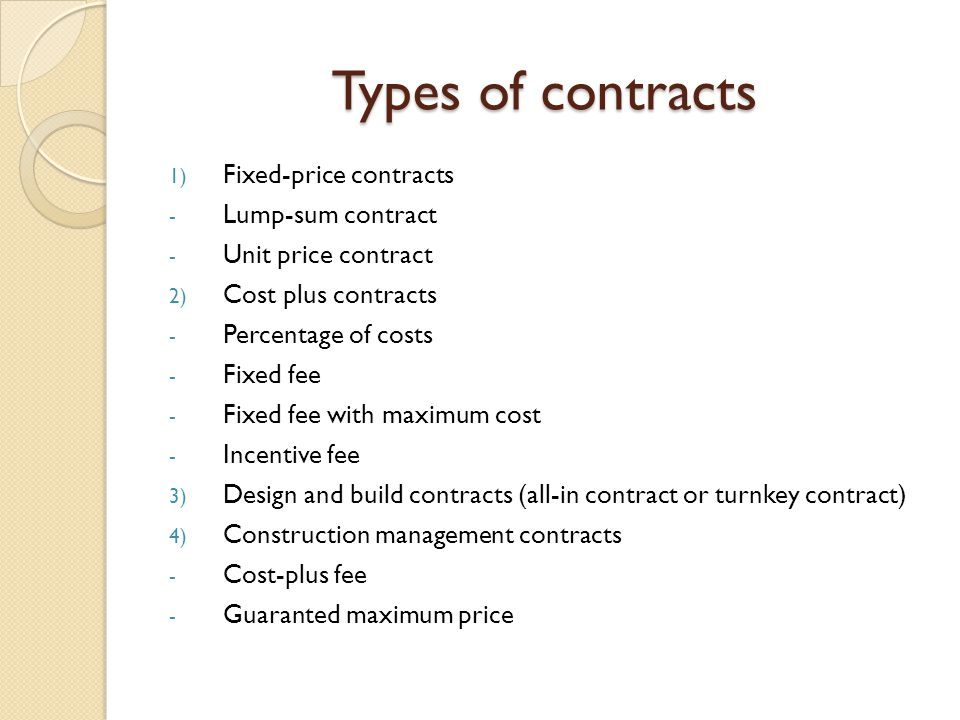 Construction process Types of contracts Halmstad University ...