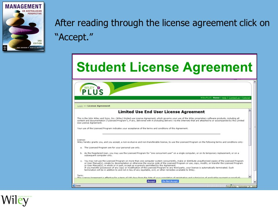 After reading through the license agreement click on Accept.