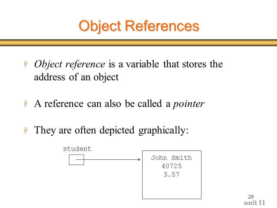 unit Object References H Object reference is a variable that stores the address of an object H A reference can also be called a pointer H They are often depicted graphically: student John Smith