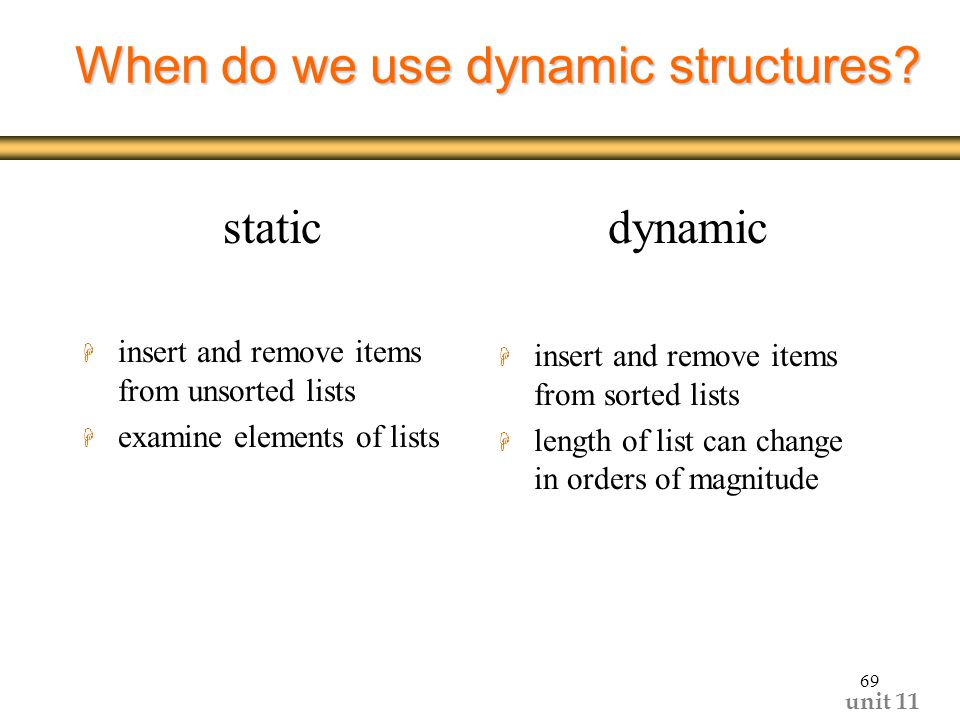 unit When do we use dynamic structures.