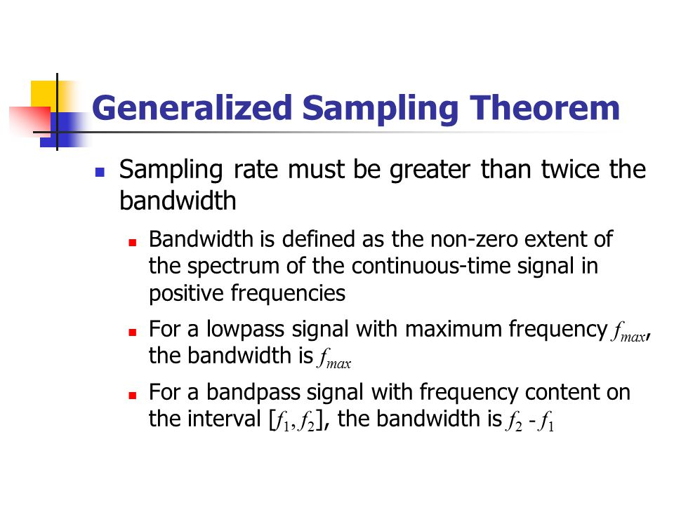 Generalized Sampling Theorem Sampling rate must be greater than twice the bandwidth Bandwidth is defined as the non-zero extent of the spectrum of the continuous-time signal in positive frequencies For a lowpass signal with maximum frequency f max, the bandwidth is f max For a bandpass signal with frequency content on the interval [ f 1, f 2 ], the bandwidth is f 2 - f 1