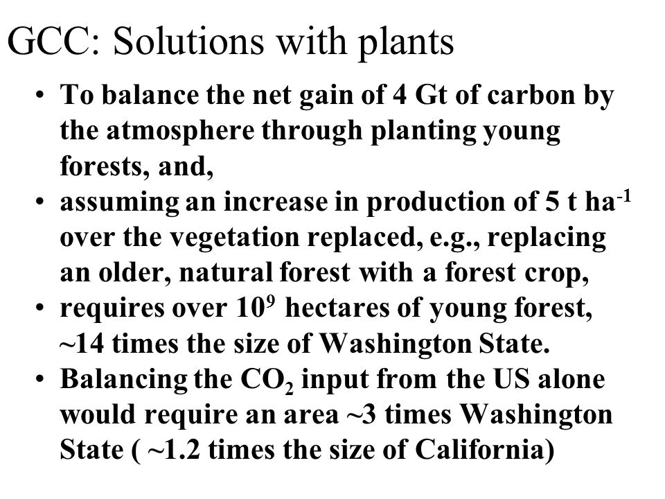 GCC: Solutions with plants To balance the net gain of 4 Gt of carbon by the atmosphere through planting young forests, and, assuming an increase in production of 5 t ha -1 over the vegetation replaced, e.g., replacing an older, natural forest with a forest crop, requires over 10 9 hectares of young forest, ~14 times the size of Washington State.
