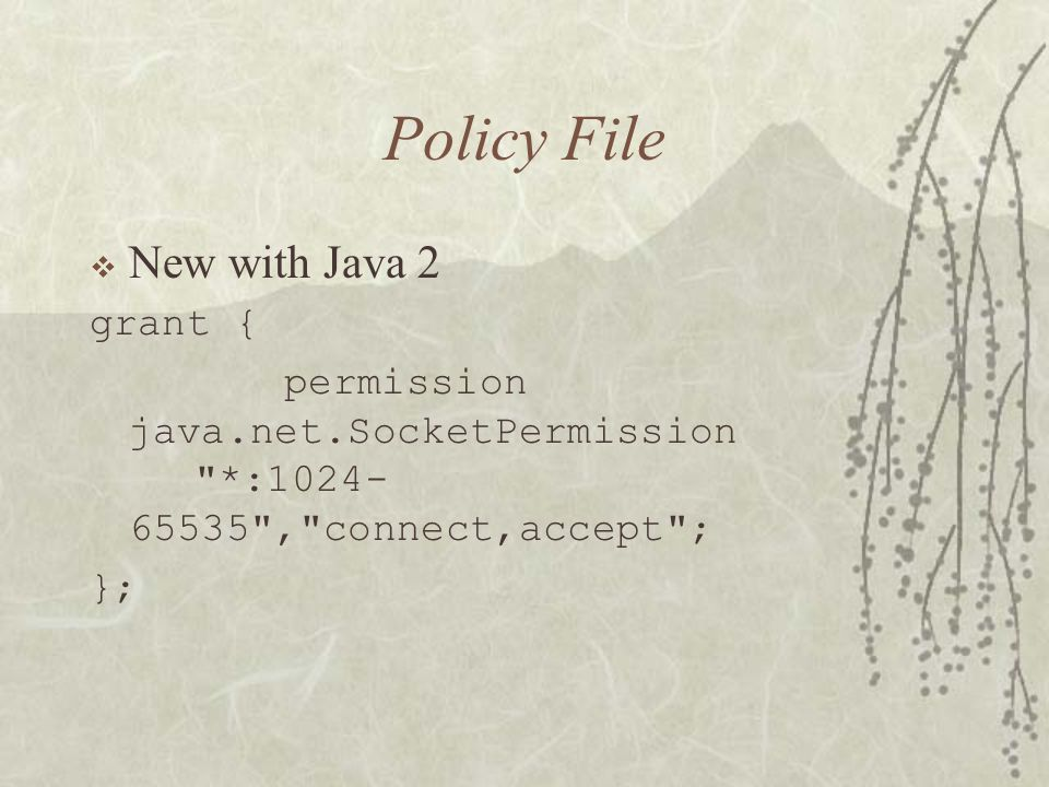 Policy File  New with Java 2 grant { permission java.net.SocketPermission *: , connect,accept ; };