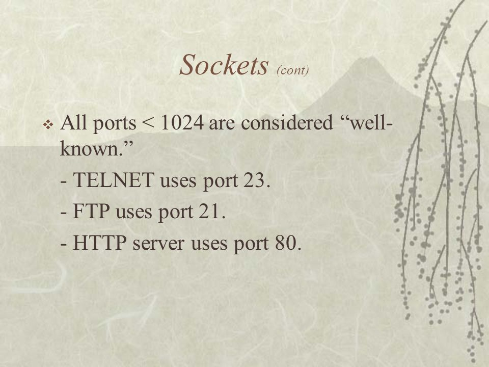 Sockets (cont)  All ports < 1024 are considered well- known. - TELNET uses port 23.