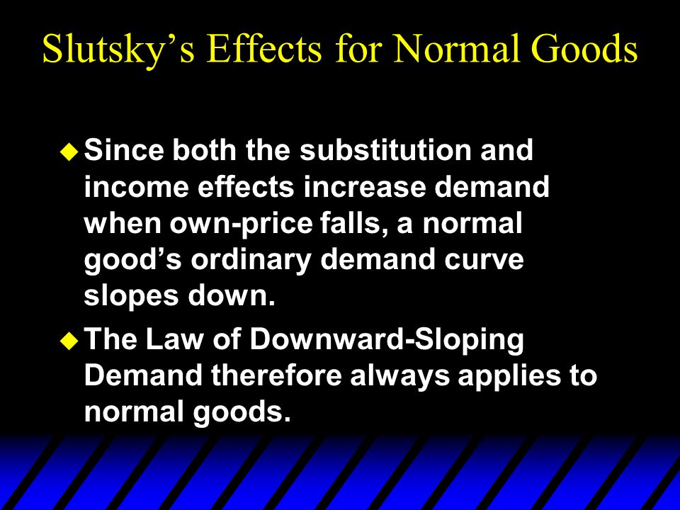 u Since both the substitution and income effects increase demand when own-price falls, a normal good's ordinary demand curve slopes down.