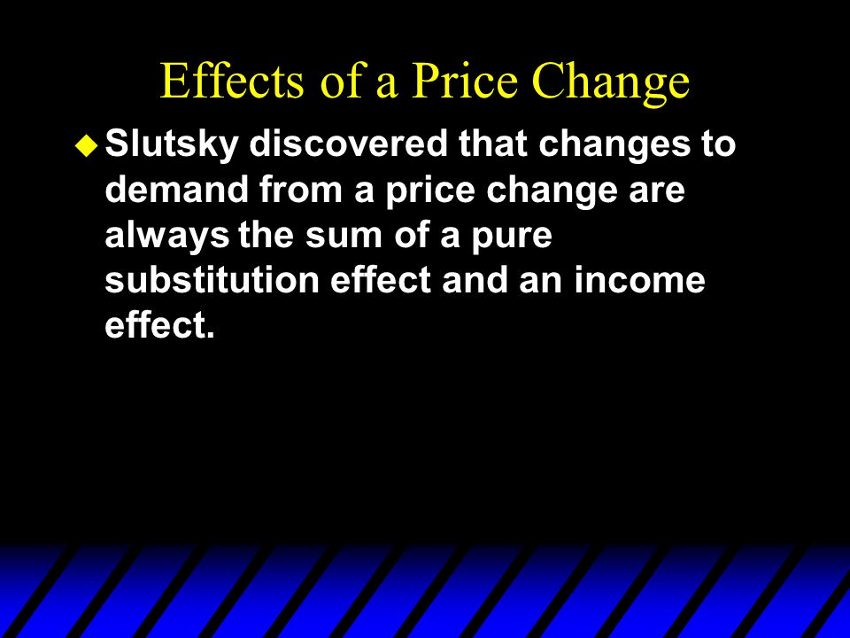 Effects of a Price Change u Slutsky discovered that changes to demand from a price change are always the sum of a pure substitution effect and an income effect.