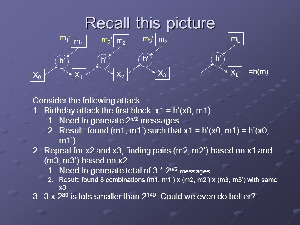 Recall this picture Consider the following attack: 1.Birthday attack the first block: x1 = h'(x0, m1) 1.Need to generate 2 n/2 messages 2.Result: found (m1, m1') such that x1 = h'(x0, m1) = h'(x0, m1') 2.Repeat for x2 and x3, finding pairs (m2, m2') based on x1 and (m3, m3') based on x2.