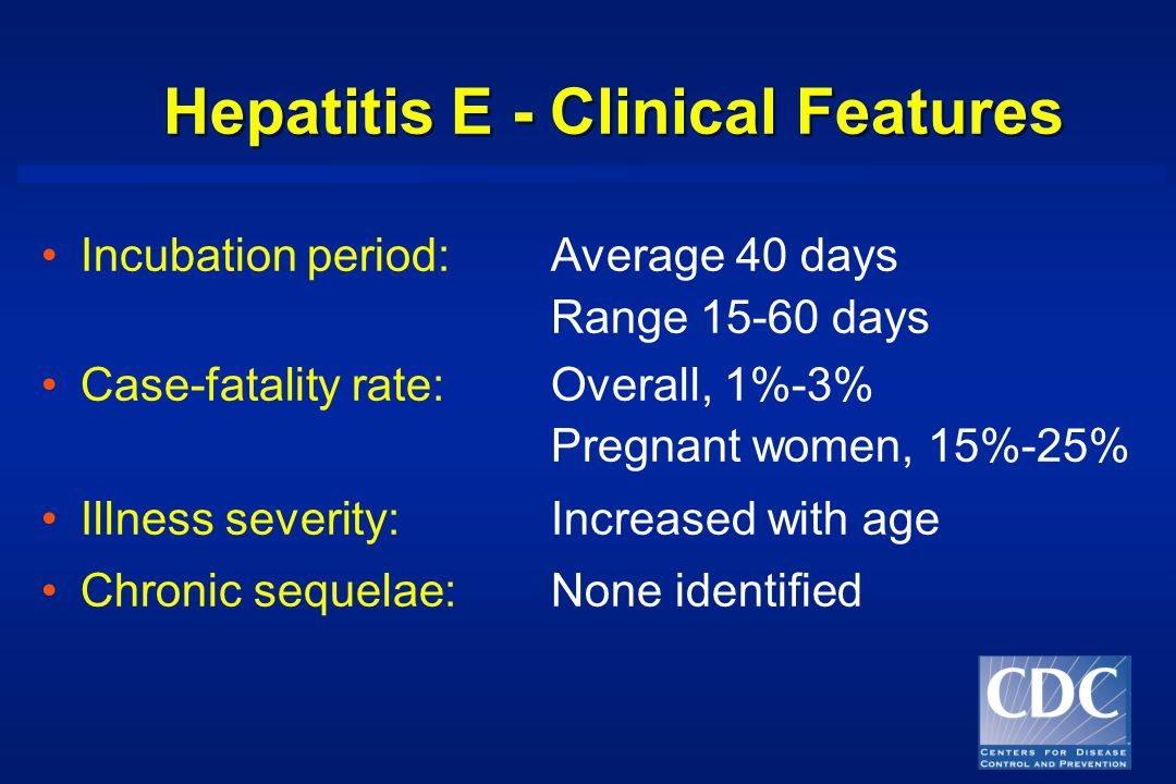 Hepatitis E - Clinical Features Incubation period:Average 40 days Range days Case-fatality rate:Overall, 1%-3% Pregnant women, 15%-25% Illness severity:Increased with age Chronic sequelae:None identified